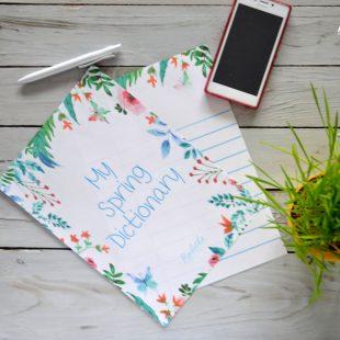 Grafika do pobrania – Wiosenny Zeszyt do Nauki Słówek